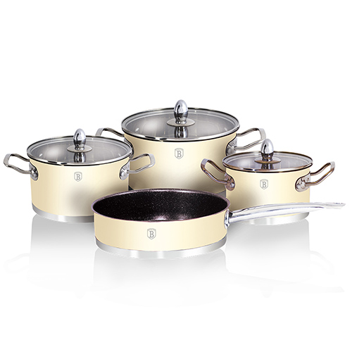 7 pcs cookware set, Stainless Steel Metallic Cream, Passion Collection
