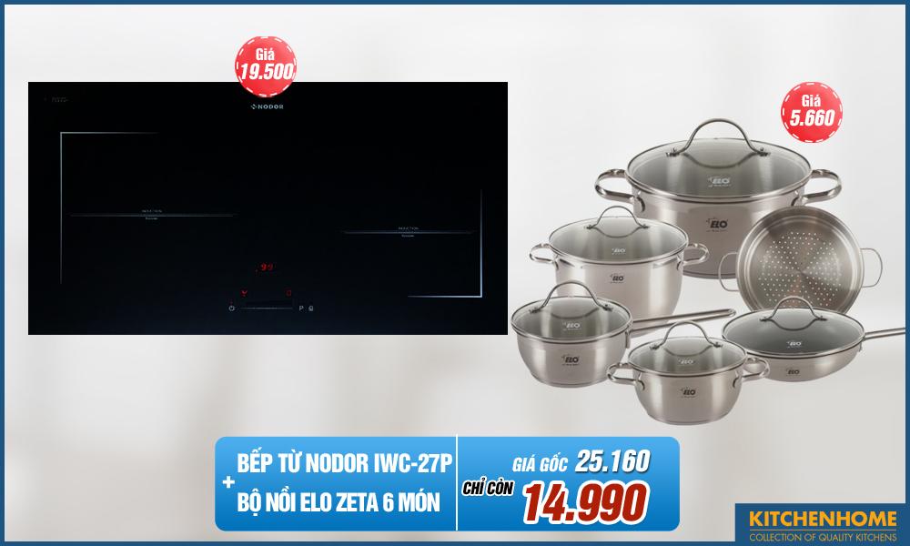 Combo bếp từ Nodor IWC-27P + Bộ Nồi Elo Zeta 6 món
